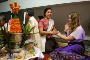 """Unique string tying ceremony or """"Baci"""" in Laos"""