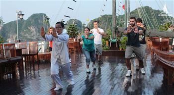 Tai Chi class in the morning ha long bay